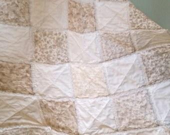 Baby Crib Rag Quilt White Gray Beige Gender Neutral Shabby Chic