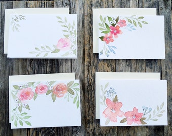 Set of 4 handmade Greeting Cards,Personalized Greeting Cards,Handmade cards,Watercolor art,Blank Note cards,Flower Stationery