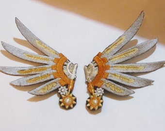 Embroidered Captain's Steampunk Wing Hair Clips - Silver