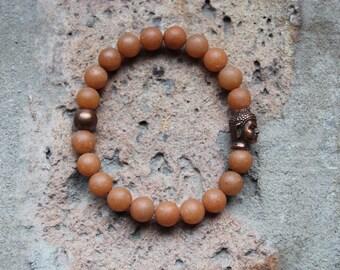 Carnelian + Copper Buddha Bracelet