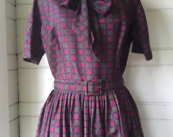Vintage check fit and flare dress