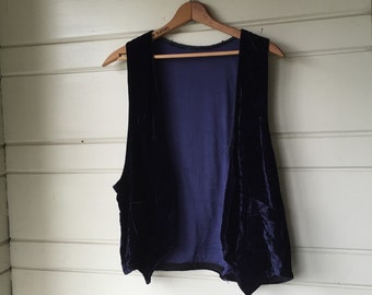 Vintage crushed blue velvet vest