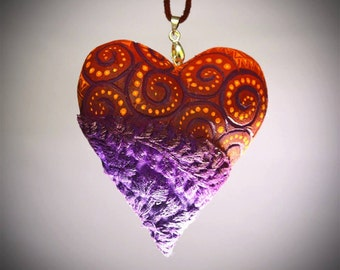 wood with embroidered Heart Necklace.