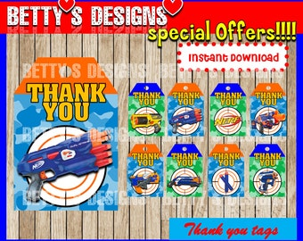 Nerf Thank you Tags instant download, Printable Nerf Thank you tags , Nerf Gift Favor Label, Nerf gun thank you tags party printable