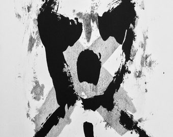 Original Black and White Abstract Screenprint