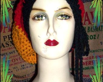 Maxi Rasta slouchy crochet  beanie