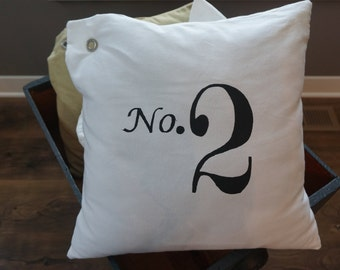 Stenciled Number Canvas Pillow