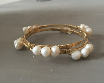 Freshwater Pearl wrap bangle