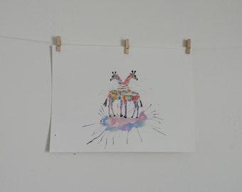 Watercolor giraffes, 9x12