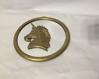 Brass Unicorn head mirror