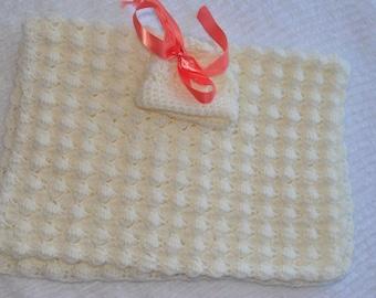 White Popcorn Baby Blanket