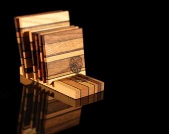 Wood Coaster Set incl. Holder
