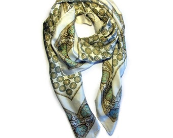 Vintage Scarf 100% Silk Massimo Dutti Italian Designer Cream Persian Print Made In Italy