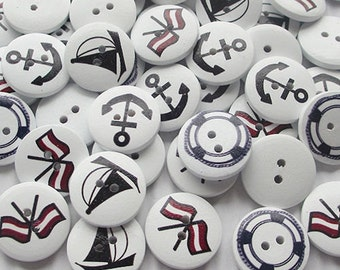 Wooden Buttons, Nautical Buttons, Boat Buttons, Sailing Buttons, Yacht Buttons, Ship Buttons, Sea Buttons, Sailboat Buttons, 20mm Buttons,