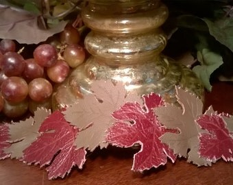 Grape leaf bracelet, Leather leaf cuff bracelet for women, Grape leaf jewelry, Mothers Day gift
