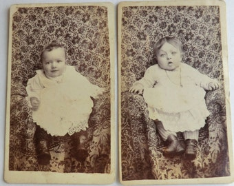 2 CDV Photos Babies Hidden Mother behind Brocade Fabric Chicago, Studio Ad Back Side