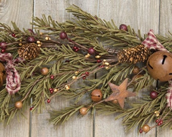 Rustic Holiday Pine Garland, 3 ft