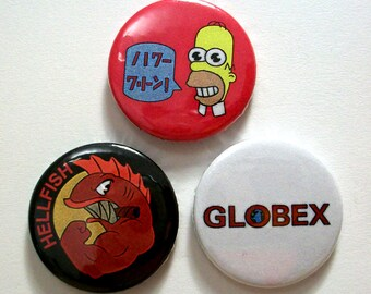 Set of 3 Simpson Pin Button Badges