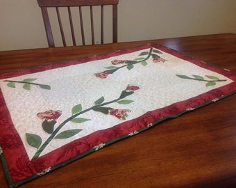 Quilted  and Hand Pieced Appliqued Table Runner