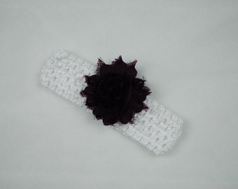 Crochet Headband with Interchangeable Shabby Flower Clip