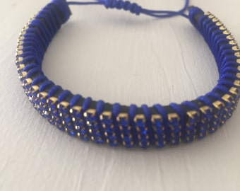 Crystal and Leather Bracelet,Macrame Adjusted Knots ,Crystal Bracelet