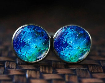Deep blue Nebula cufflinks, Blue cufflinks, Space cufflinks, underwater cufflinks, water cufflinks, Nebula cuff links