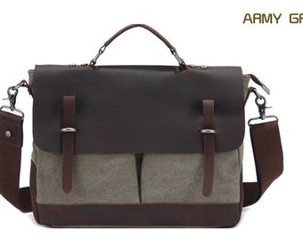 Canvas Messenger Bag, Leather Canvas Messenger Bag, Canvas Briefcase, Canvas Shoulder Bag, Canvas Handbag