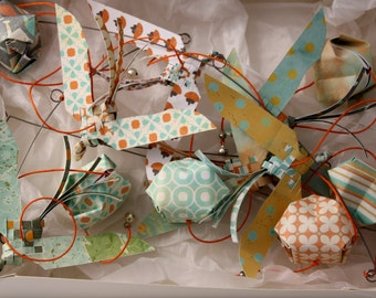 Mobile suspension birds origami paper - in my garden