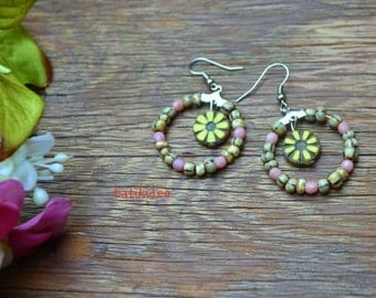 Hoop Chandelier earrings, Flower beads earring, Czech glass beads earring