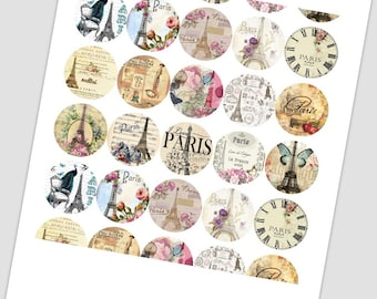 Paris France Digital Collage Sheet /you will get it in 3 sizes/ circle  Pendant Printable Download jewelry making