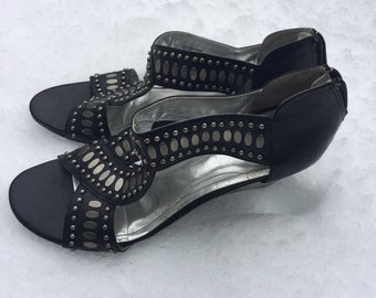 Women's black and silver studded wedge sandals size 8.5