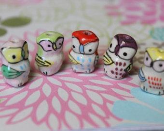 SALE 30 Ceramic Owl Beads - Multicolored - CLEARANCE - DESTASH