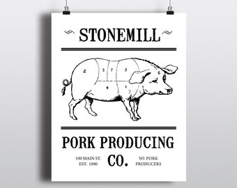 Cuts of Pork Diagram, Printable Butcher Chart, DIY Kitchen Wall Art, Pork Producing Sign, Black & White Pig Illustration, Instant Download