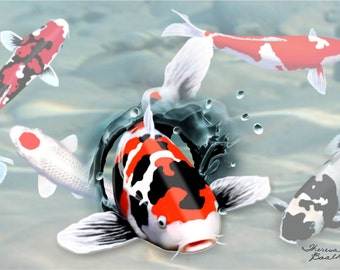Breaking Out From The Rest Koi Fish Showa Digital Art Giclee Painting Print