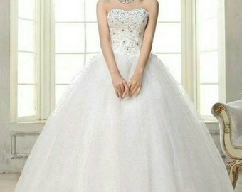 Sale- strapless lace up wedding dress