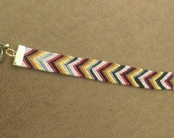 Bold and Neutral Colored Woven Friendship Bracelet with Toggle Clasp