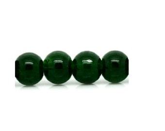 Beads of glass dark green 6 mm Pack of 50