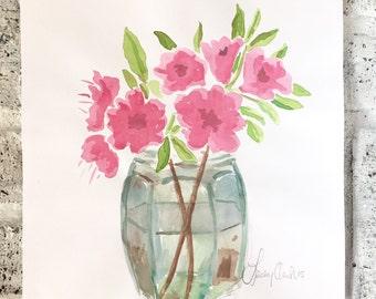 Watercolor Flowers Painting, watercolor flowers, Original Floral Watercolors Painting, Azalea Painting, Flower Paintings