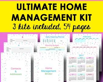 Home Management Binder, Household Planner Printable Home Planner Address Binder Printable Monthly Calendar 2017 Letter Size Instant Download