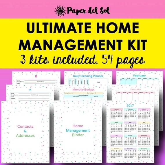 Home management binder household planner printable home for Home planning binder
