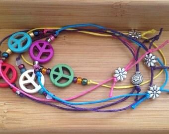 Beaded braclets, Peace sign beaded bracelets, set of 5 bracelets