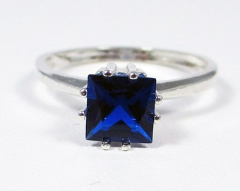 Blue Sapphire Princess Ring Sterling Silver
