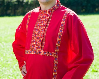 Tradition russian shirt Kosovorotka, Russian shirt for men, Slavic shirt, Russian costume, Cotton shirt