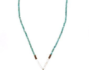 Amazonite and Turquoise Rosary Style Necklace