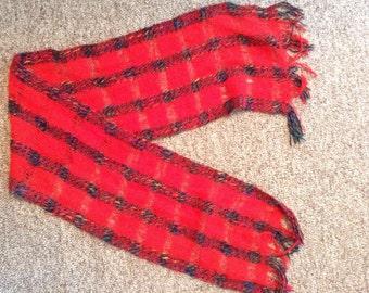 Vintage Striped Red Scarf
