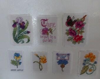 Flower Cross Stitch Magnets