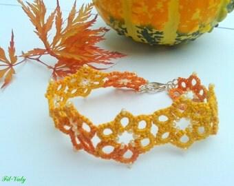 Orange and yellow autumn bracelet frivolity