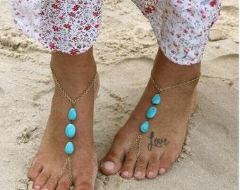 Turquoise Beaded Barefoot Sandal