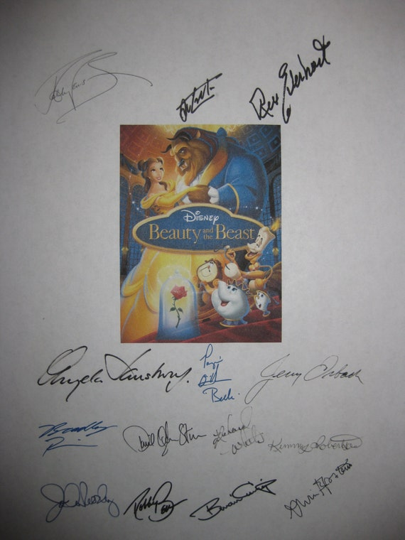 Beauty and the Beast Signed Film Movie Screenplay Script X14 Autographs Angela Lansbury Jerry Orbach Robby Benson Jesse Corti Rex Everhart