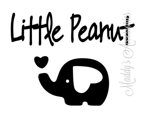 Iron on decal - Little Peanut - elephant - baby / child clothing accessory